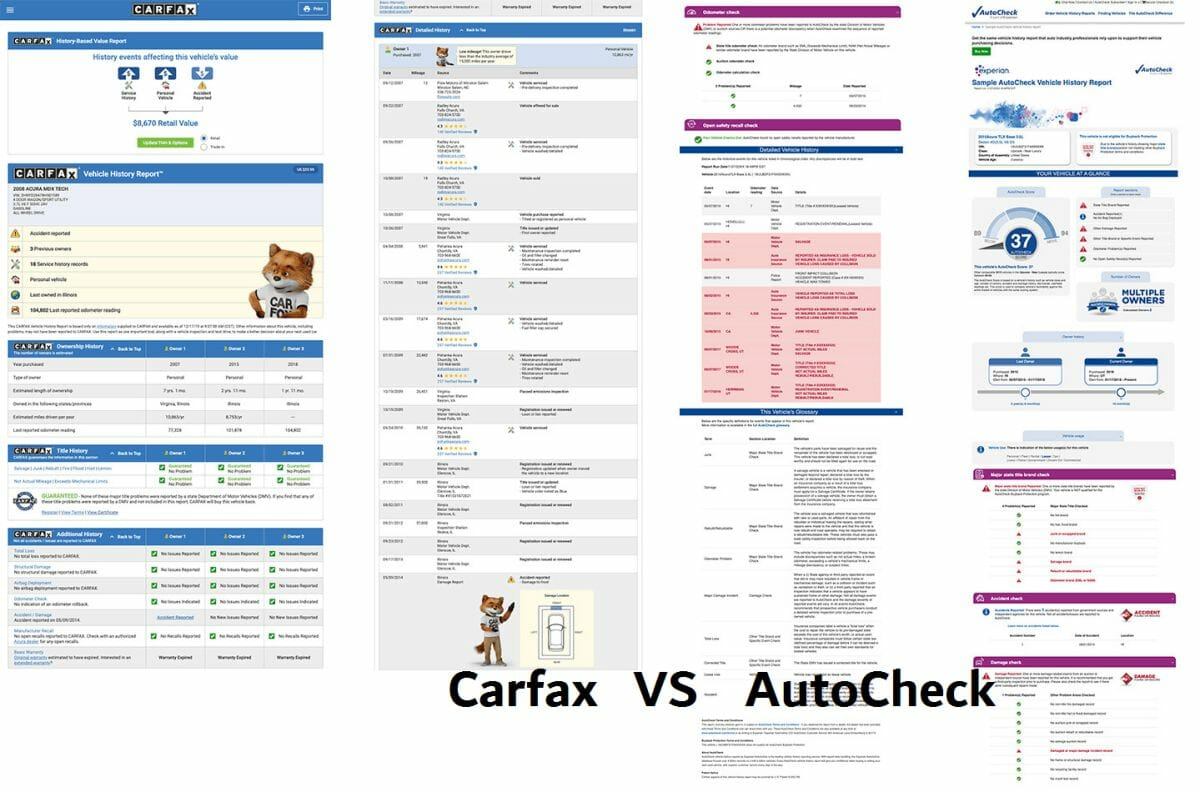 autocheck vs carfax side by side reports